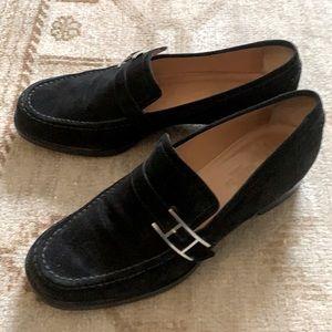 - Hermès Black suede Buckle Loafers Size 7…